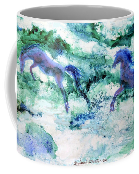 Watercolor Coffee Mug featuring the painting Sea Horses by Joan Hartenstein