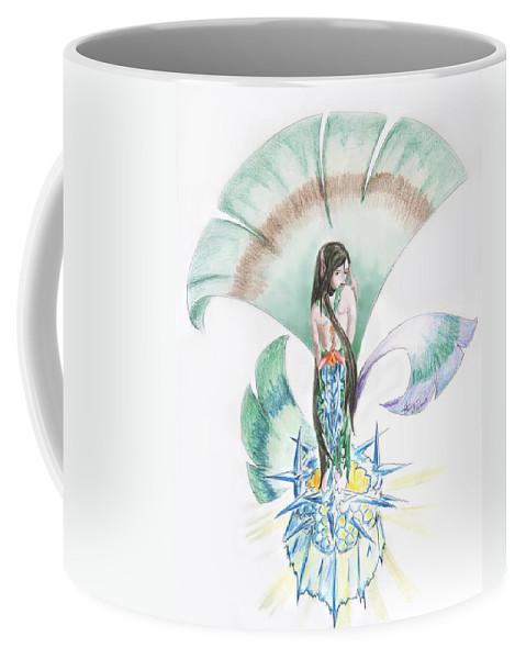 Coffee Mug featuring the drawing Sea Maiden by Katerina Naumenko
