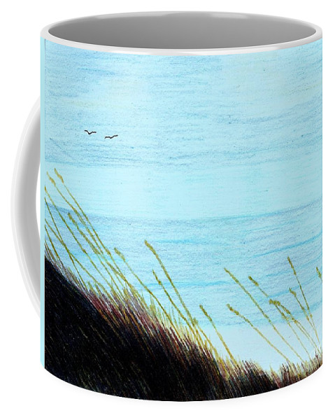 Beach Coffee Mug featuring the drawing Sea Oats In The Wind Drawing by D Hackett