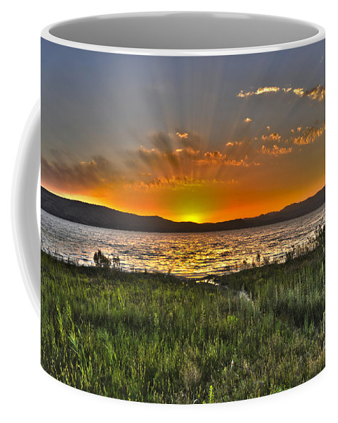 Sea Of Galilee Coffee Mug featuring the photograph Sea Of Galilee Sunset by Judith Katz