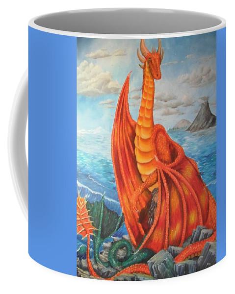 Dragon Coffee Mug featuring the painting Sea Shore Pair by Nicole Angell