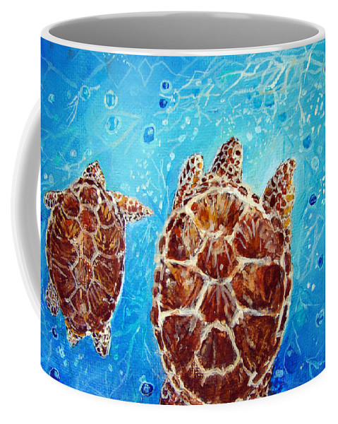 Sea Turtles Coffee Mug featuring the painting Sea Turtles Swimming Towards The Light Together by Ashleigh Dyan Bayer