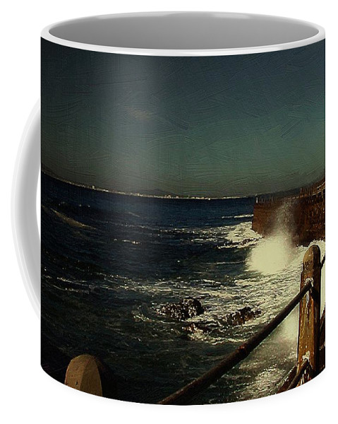 Sea Coffee Mug featuring the painting Sea Wall At Night by RC DeWinter