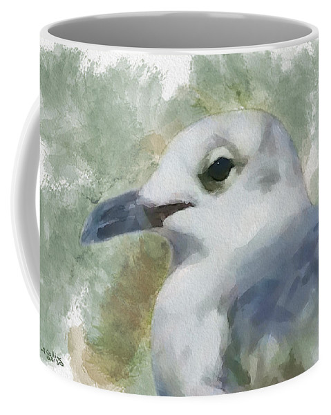 Seagull Coffee Mug featuring the painting Seagull Closeup by Greg Collins