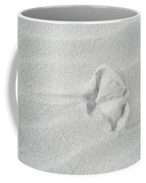 Sand Coffee Mug featuring the photograph Seagull Footprint On The Sand by Mother Nature