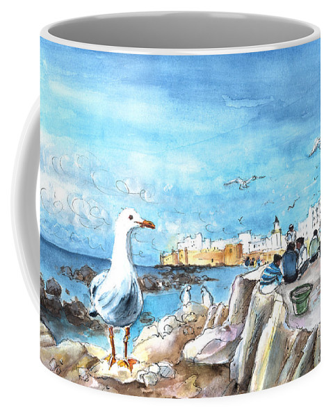 Travel Coffee Mug featuring the painting Seagull In Essaouira In Morocco by Miki De Goodaboom