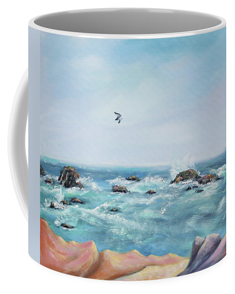 Seascape Painting Coffee Mug featuring the painting Seagull Over The Ocean by Asha Carolyn Young
