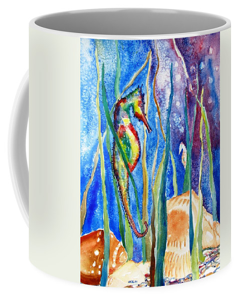 Seahorse Coffee Mug featuring the painting Seahorse And Shells by CarlinArt Watercolor