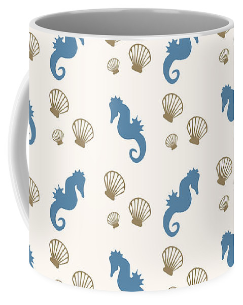 Seahorse Coffee Mug featuring the mixed media Seahorse and Shells Pattern by Christina Rollo