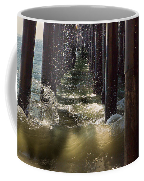 Angry Coffee Mug featuring the photograph Seal Beach Pier Surf by Heidi Smith