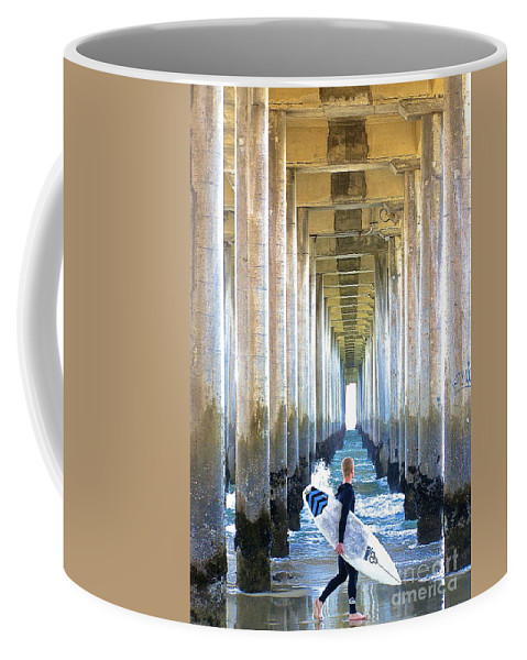 Pier Coffee Mug featuring the photograph Searching For Peace by Margie Amberge