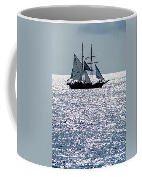 Boat; Nature; Nobody; Outdoors; Outside; Sail; Sailing Ship; Sails; Scenics; Sea; Sea & Oceans; Ship; Vessel; Water Coffee Mug featuring the photograph Seascape by Anonymous