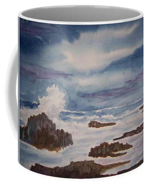 Seascape Coffee Mug featuring the painting Seascape Five by B Kathleen Fannin