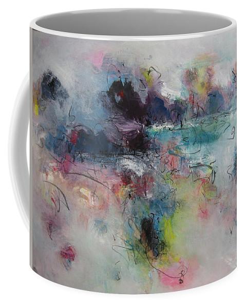 Green Purple Paintings Coffee Mug featuring the painting Seascape00031 by Seon-Jeong Kim
