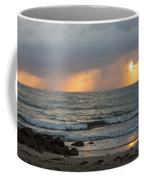 Port Douglas Australia Water Ocean Oceans Coral Sea Seas Sand Sands Reflection Reflections Sunrise Sunrises Dawn Storm Cloud Rain Storms Sun Waterscape Waterscapes Wave Waves Coffee Mug featuring the photograph Seaside Rainstorm by Bob Phillips