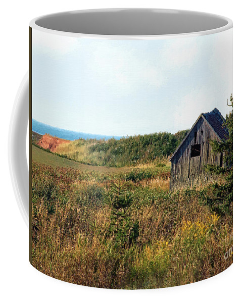 Landscape Coffee Mug featuring the painting Seaside Shed - September by RC DeWinter