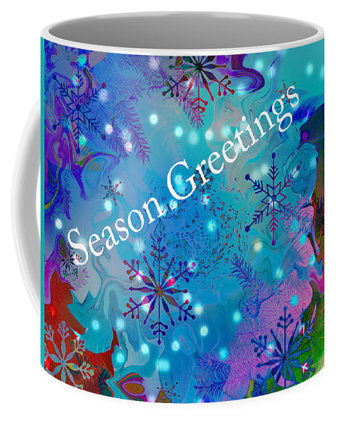 Season Greetings Coffee Mug featuring the photograph Season Greetings - Snowflakes by Kathy Moll