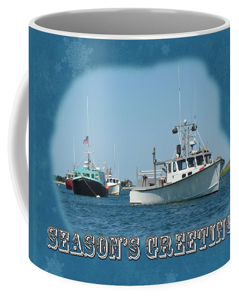 Seasons Greetings Coffee Mug featuring the photograph Season's Greetings Holiday Card - Boats In Peaceful Harbor by Mother Nature