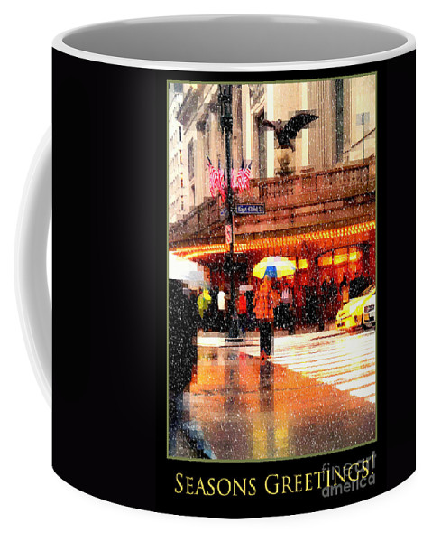 Grand Central Station Coffee Mug featuring the photograph Season's Greetings - Yellow And Blue Umbrella - Holiday And Christmas Card by Miriam Danar
