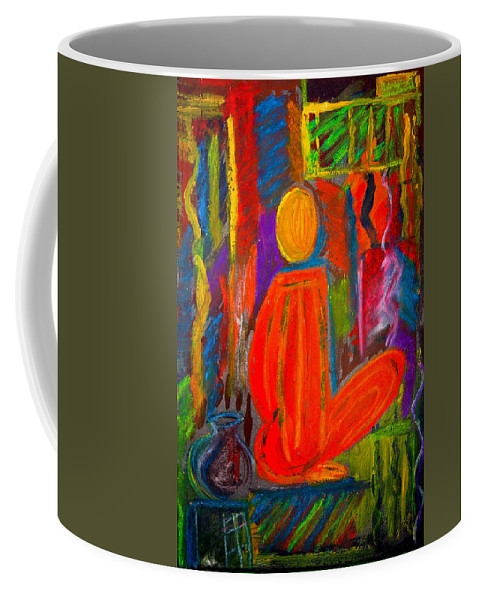 Abstract Coffee Mug featuring the painting Seated Monk by Nirdesha Munasinghe