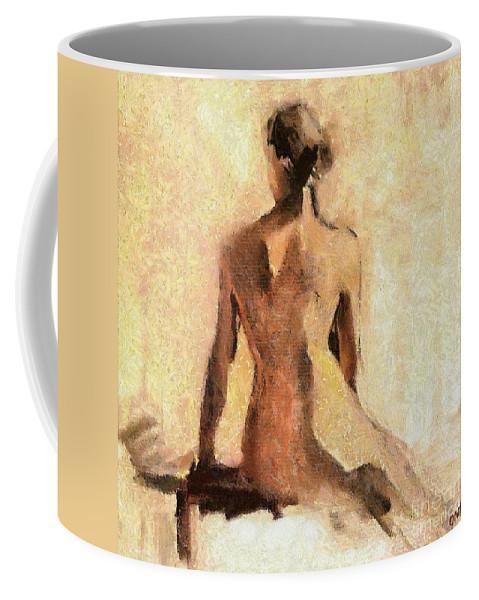 Nude Coffee Mug featuring the painting Seated Nude by Dragica Micki Fortuna