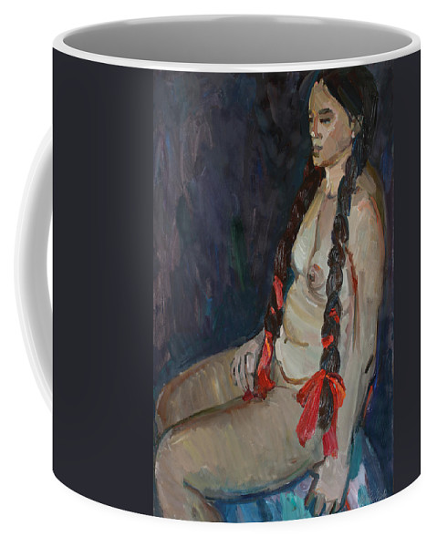 Breast Coffee Mug featuring the painting Seated Nude by Juliya Zhukova