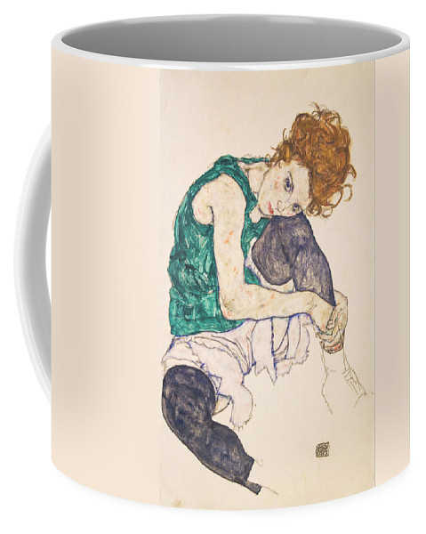 Egon Schiele Coffee Mug featuring the painting Seated Woman With Legs Drawn Up. Adele Herms by Egon Schiele