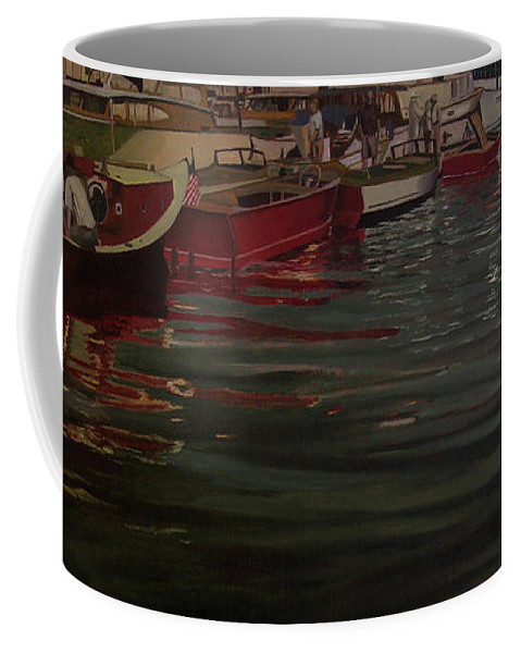 Seattle Boats Show Coffee Mug featuring the painting Seattle Boat Show by Thu Nguyen