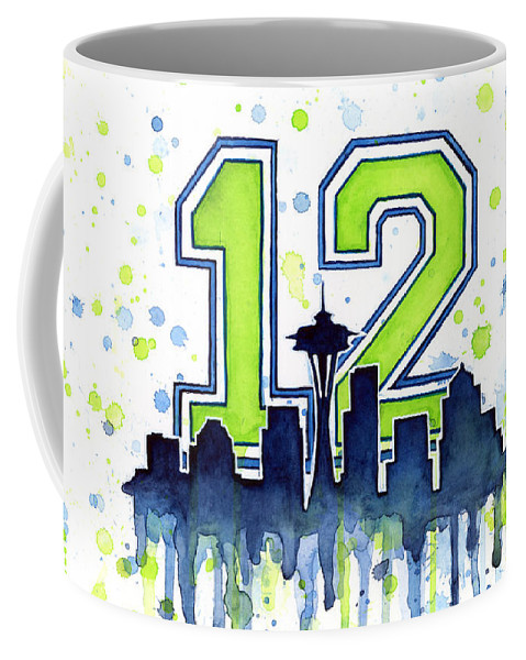 Seattle Coffee Mug featuring the painting Seattle Seahawks 12th Man Art by Olga Shvartsur