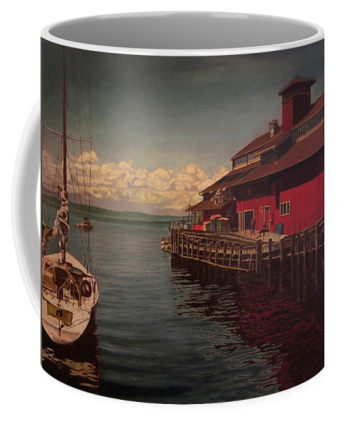 Marina Coffee Mug featuring the painting Seattle Waterfront by Thu Nguyen