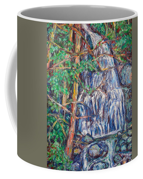 Waterfall Coffee Mug featuring the painting Secluded Waterfall by Kendall Kessler