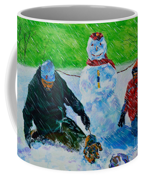 Snow Coffee Mug featuring the painting Second Snow by Charles M Williams