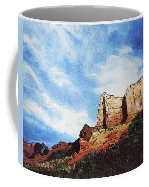 Sedona Arizona Coffee Mug featuring the painting Sedona Mountains by Mary Palmer