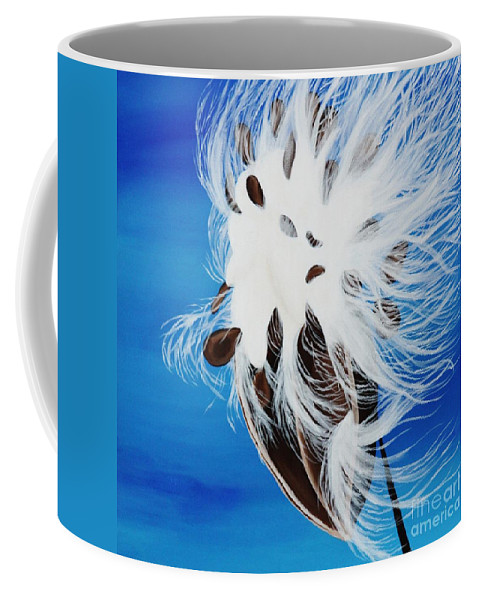 Seed Pod Coffee Mug featuring the painting Milkweed Pod by Janell R Colburn