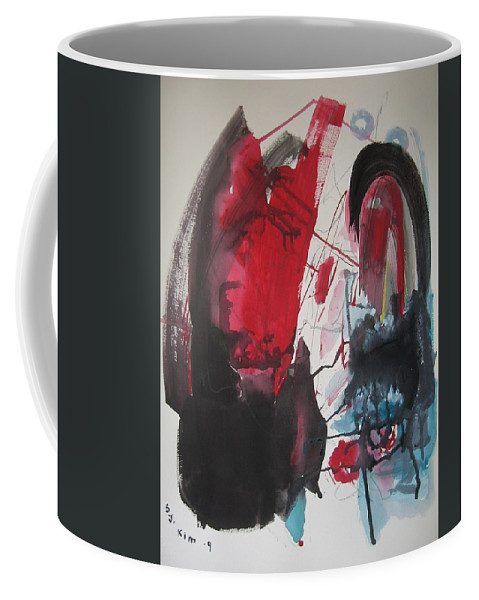 Red Paintings Coffee Mug featuring the painting Seem To Happen Suddenly Original Abstract Colorful Landscape Painting For Sale Red Blue Green by Seon-Jeong Kim