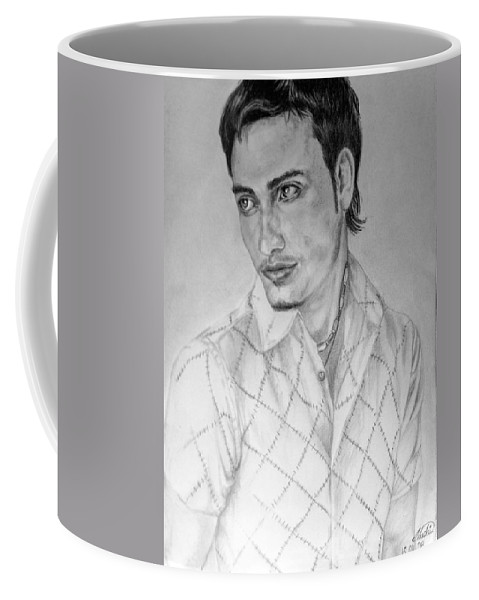 Portrait Coffee Mug featuring the drawing Self Portrait by Alban Dizdari