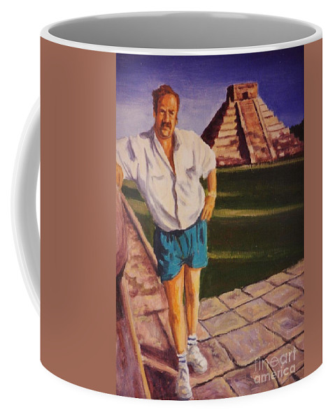 Portraits Coffee Mug featuring the painting Self Portrait At Chichen Itza by John Malone