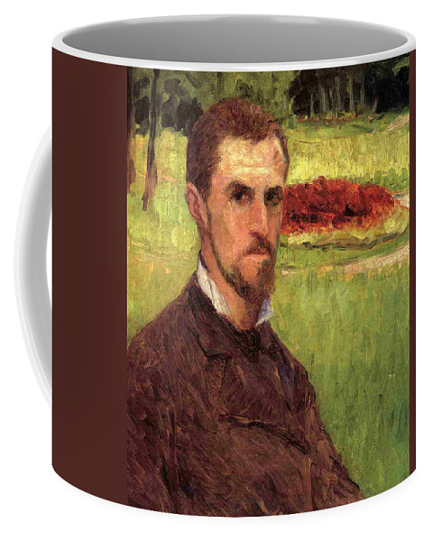 Male Coffee Mug featuring the painting Self Portrait by Gustave Caillebotte