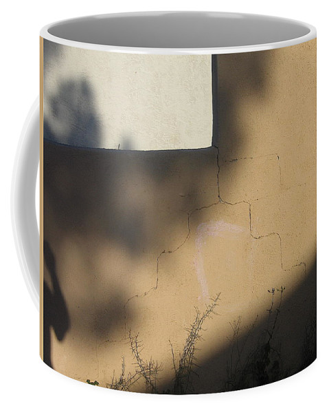 Self Portrait Shadow Wall Casa Grande Arizona 2004 Coffee Mug featuring the photograph Self Portrait Shadow Wall Casa Grande Arizona 2004 by David Lee Guss