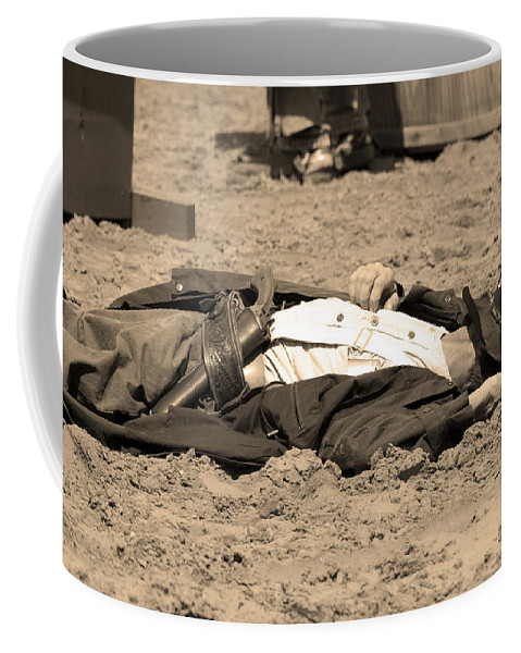 Sepia Coffee Mug featuring the photograph Sepia Rodeo Gunslinger Victim by Sally Rockefeller