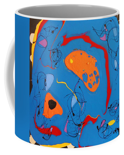 Drip Blue Bright Lines Orange Red Yellow Black Fascinating Joyful Happy Abstract Playful Spontanious Masterpiece Brilliant Coffee Mug featuring the painting Serendipitous Blue by David Mintz