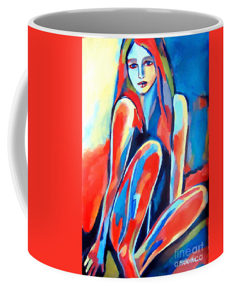 Nude Figures Coffee Mug featuring the painting Serene Thoughts by Helena Wierzbicki