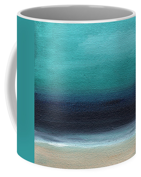 Beach Coffee Mug featuring the painting Serenity- Abstract Landscape by Linda Woods