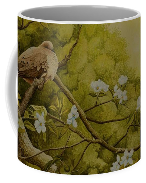 Birds Coffee Mug featuring the painting Serenity by Charles Owens