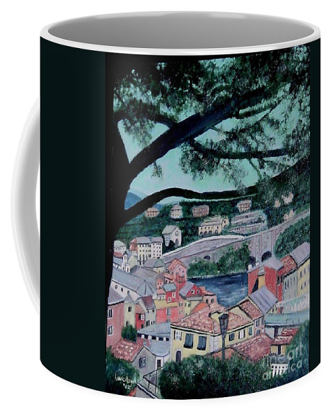 Italy Coffee Mug featuring the painting Sestri Levante by Laurie Morgan