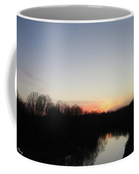 Setting Sun Coffee Mug featuring the photograph Setting Sun Beyond The Red River by Amy Hosp