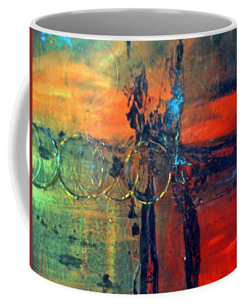 Abstract Coffee Mug featuring the painting Seven Rings by Sheila Neeley