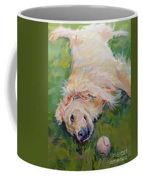 Golden Coffee Mug featuring the painting Seventh Inning Stretch by Kimberly Santini
