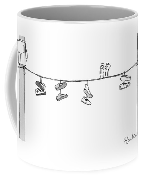 Captionless Coffee Mug featuring the drawing Several Pairs Of Shoes Dangle Over An Electrical by Charlie Hankin