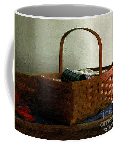 Americana Coffee Mug featuring the painting Sewing Basket In Sunlight by RC DeWinter